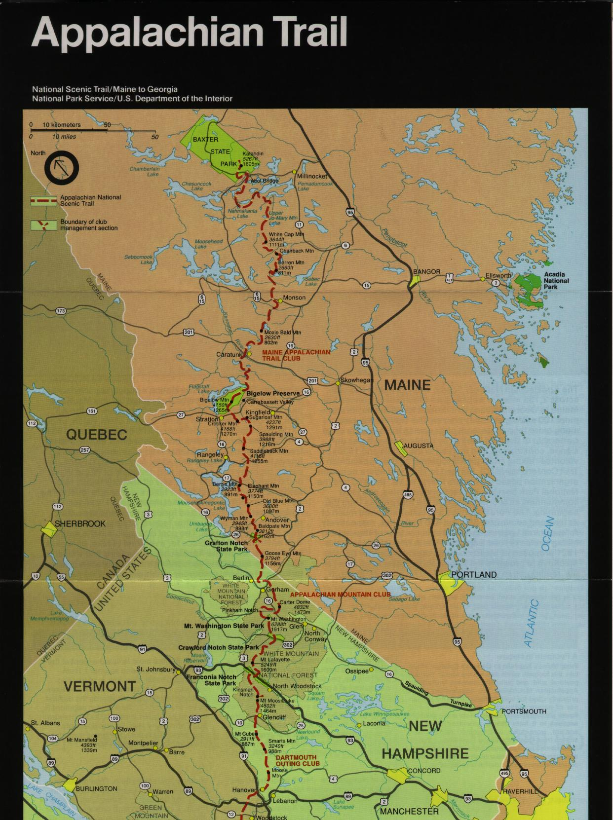 Appalachian Trail In Maine Map.At Ham Radio Survey